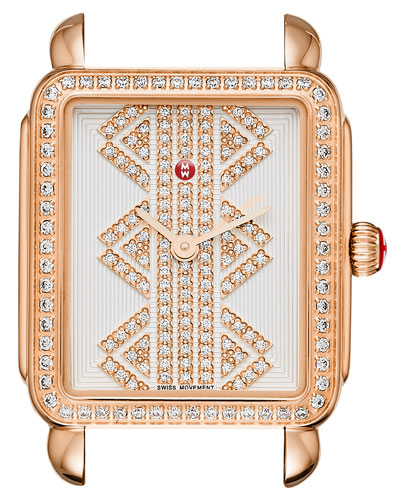 16mm Deco ll Mid Rose Gold Watch Head with Pattern Diamond Dial ...