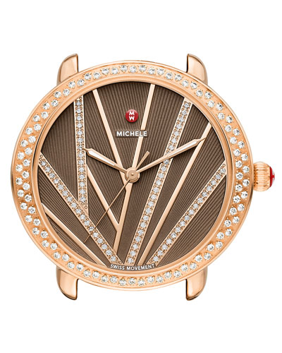 16mm Serein Mid City Lights Diamond Rose Gold Watch Head, Diamond Dial