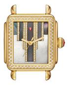 18mm Deco Skyline Diamond Gold Watch Head, Cocoa Diamond Dial