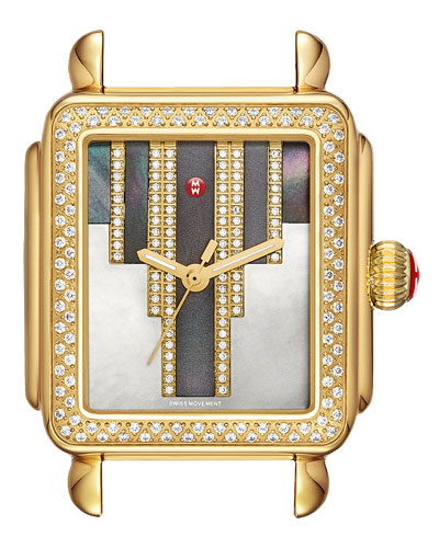18mm Deco Skyline Diamond Gold Watch Head, Cocoa Diamond Dial