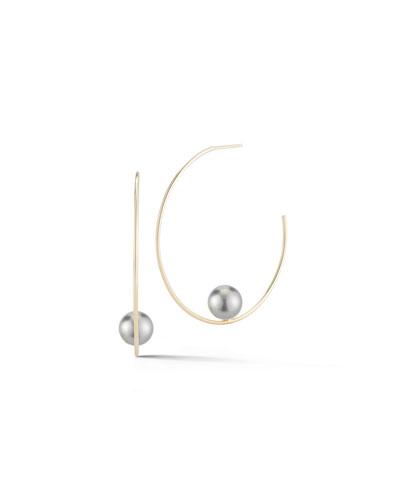 Floating Tahitian Pearl Hoop Earrings