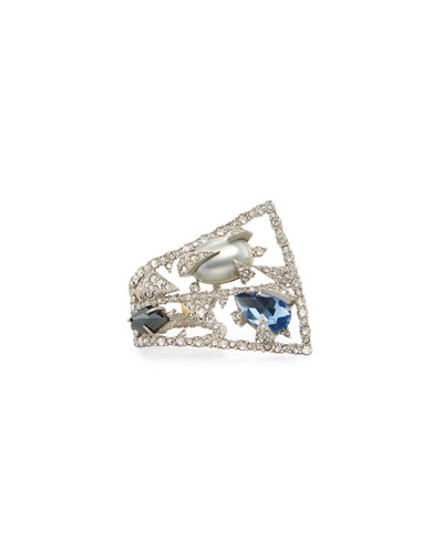 Crystal Mosaic Lace Fan Ring, Size 6