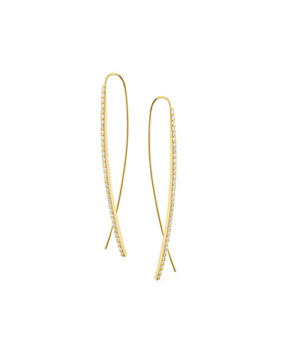 Gloss Flawless 14K Gold Upside Down Hoop Earrings with Diamonds