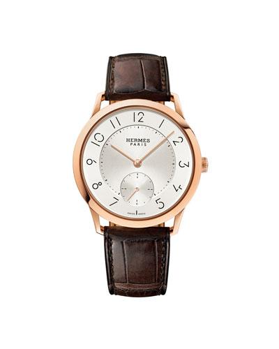 39.5mm Slim d'Hermès 18K Rose Gold Watch with Alligator Strap