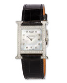 Heure H MM Watch with Diamonds & Black Alligator Strap