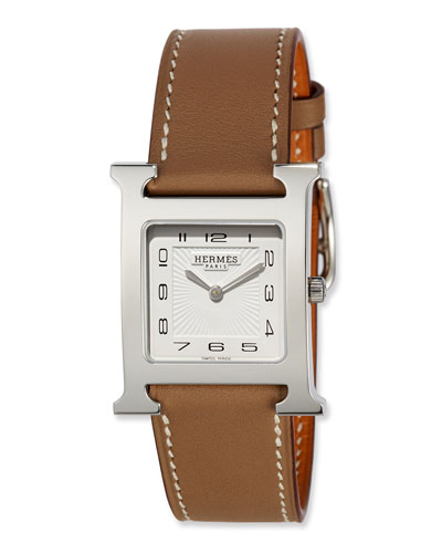 Heure H MM Watch with Taupe Leather Strap