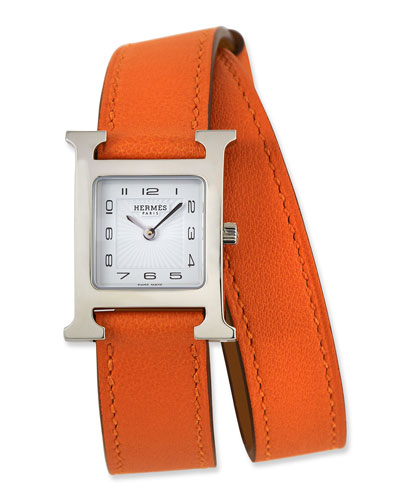 Heure H PM Watch with Orange Leather Wrap Strap