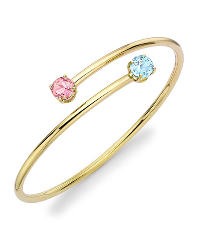 Eternal Blue Topaz & Pink Tourmaline Twist Bangle