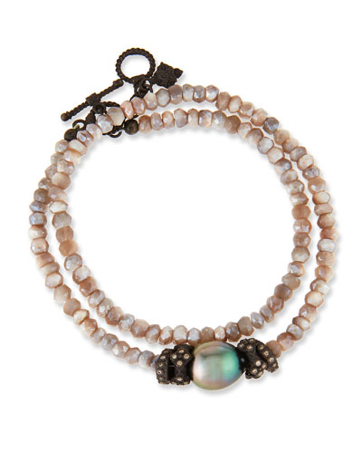 Old World Mystic Moonstone & Pearl Bracelet with Champagne Diamonds