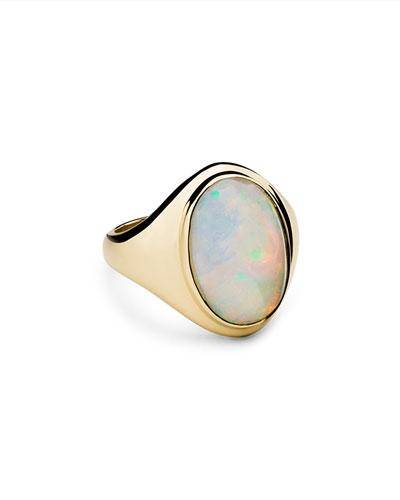 14K Yellow Gold Opal Signet Ring