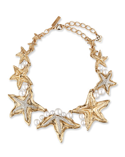 Pave Sea Star Necklace, Golden