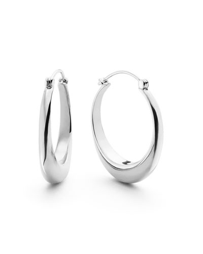Large Crescent Sterling Silver Hoop Earrings