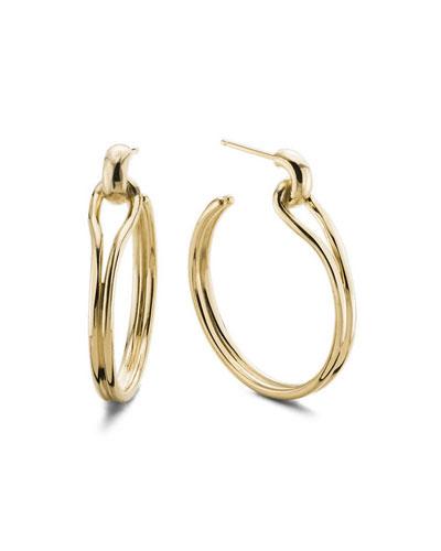 Small Lug 14K Gold Hoop Earrings