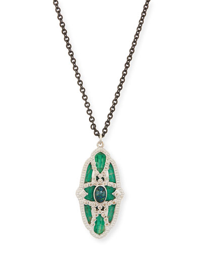 New World Teal Mosaic & Opal Necklace with Diamonds