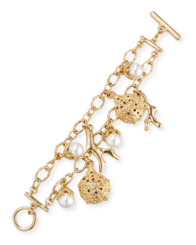Urchin Simulated Pearl Charm Bracelet, Golden