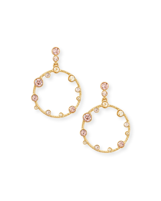 Circular Crystal Drop Earrings