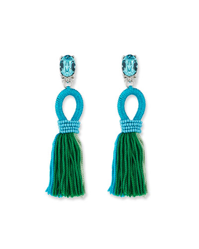 Short Gradient Looped Tassel Earrings