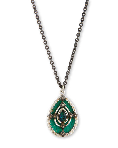 New World Teal Mosaic Pendant Necklace