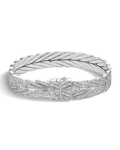 Modern Chain Silver Diamond Medium Bracelet