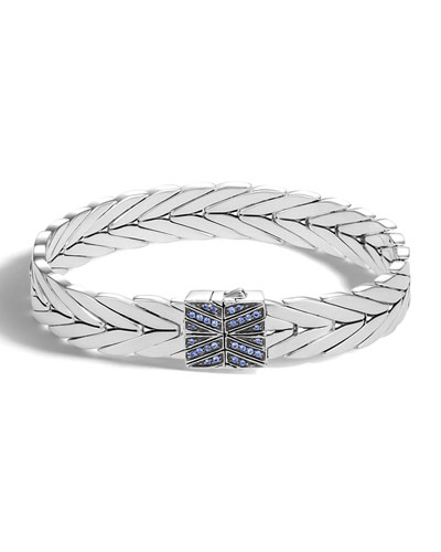 Modern Chain Medium Bracelet with Blue Sapphire Clasp