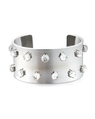 Crystal-Studded Silvertone Cuff Bracelet