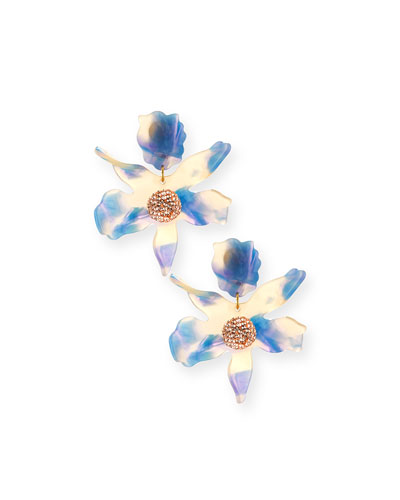 Sculptural Crystal Lily Earrings, Blue