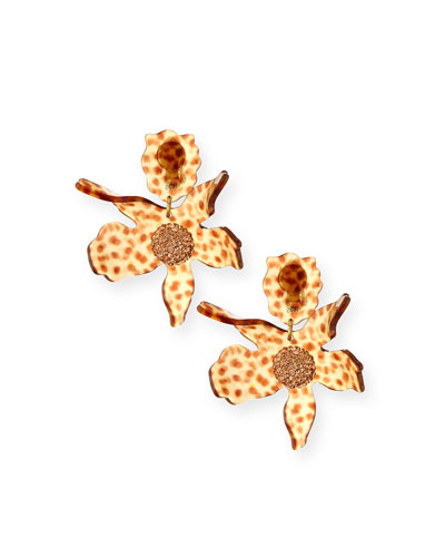 Sculptural Crystal Lily Earrings, Brown