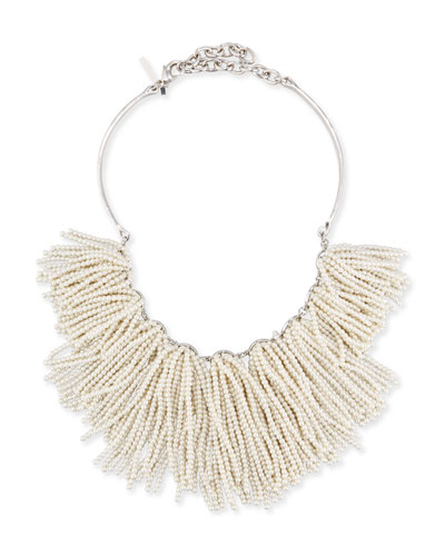 Weeping Willow Pearly Tassel Bib Necklace