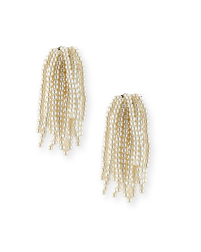 Weeping Willow Pearly Tassel Cluster Clip-On Earrings