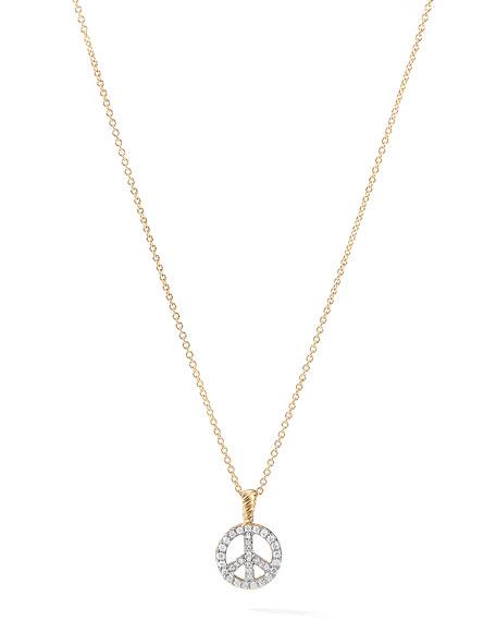 David Yurman 18k Diamond Peace Sign Cable Collectible Necklace