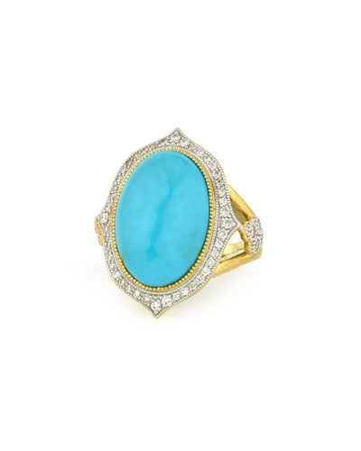 Large Moroccan Turquoise & Diamond Ring, Size 6.5