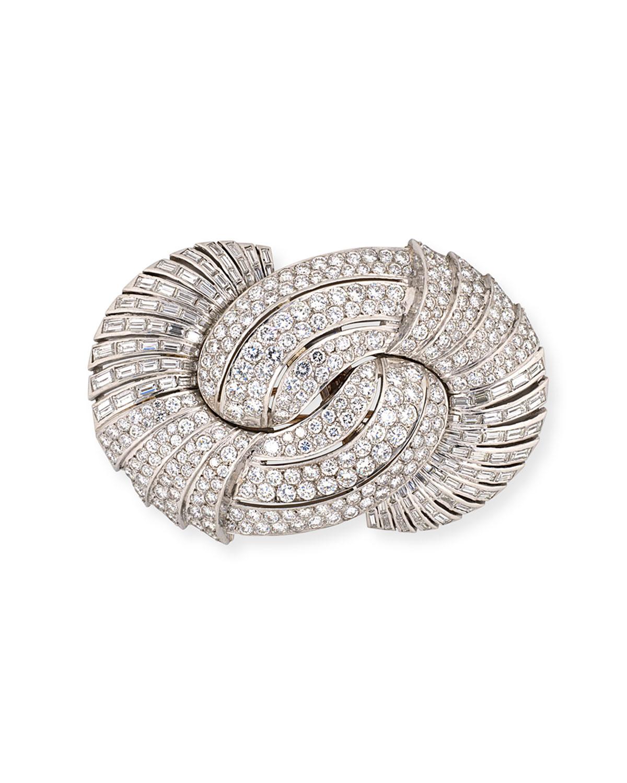 Estate Retro Large Diamond Swirl Brooch