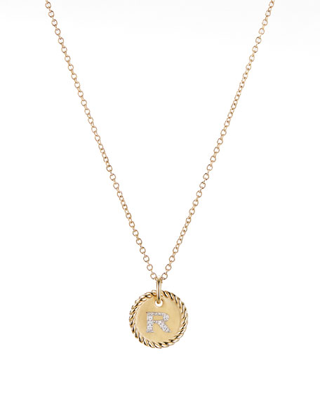 David Yurman Initial R Cable Collectible Necklace with Diamonds