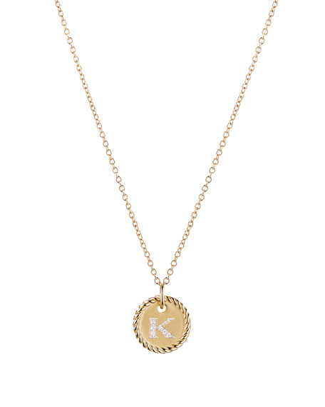 David Yurman Initial K Cable Collectible Necklace with Diamonds
