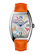 Cintree Curvex Crazy Hours Watch with Orange Alligator Strap