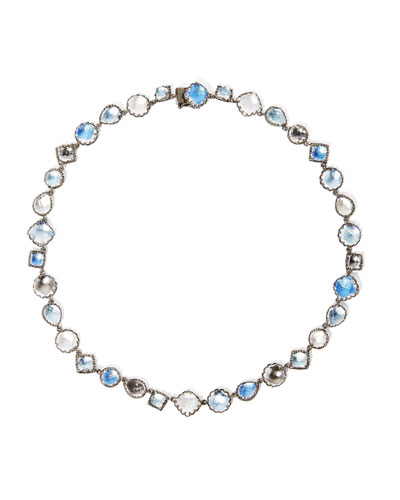 Small Sadie Riviere Necklace in Multi-Blue Foil