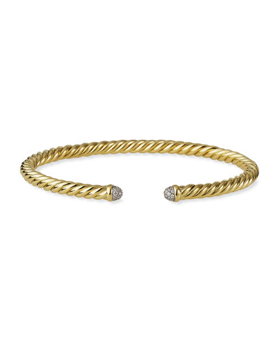 Cable Bracelet in Gold with Diamonds
