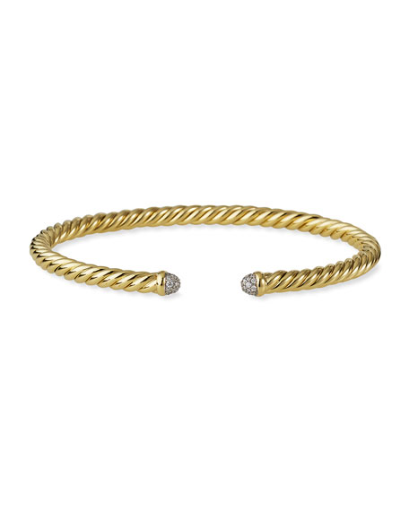 David Yurman Cable Bracelet in Gold with Diamonds, Size M