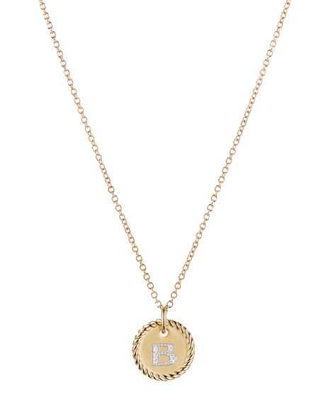 David Yurman Initial B Cable Collectible Necklace with Diamonds