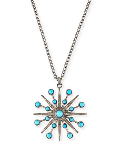 Turquoise & Diamond Starburst Pendant
