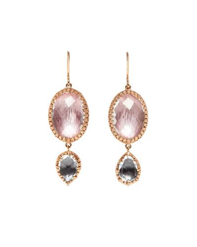 Sadie Oval Double-Drop Earrings in Ballet & Gray Foil