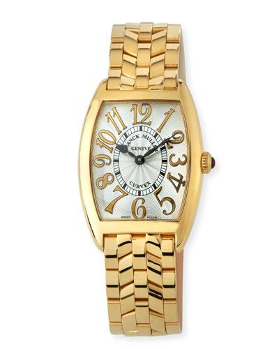 Cintree Curvex 18k Gold Bracelet Watch, Gold/White