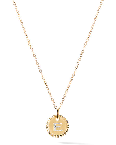 David Yurman Initial E Cable Collectible Necklace with Diamonds