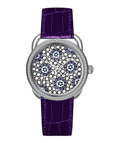 34mm Arceau Millefiori Watch with Diamonds, White/Purple