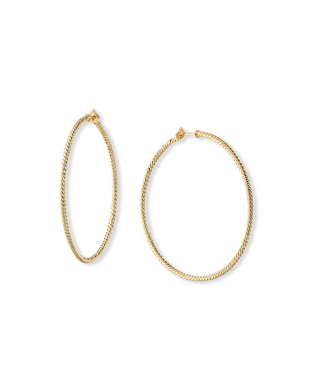 David Yurman Thin 18k Gold Cabled Hoop Earrings