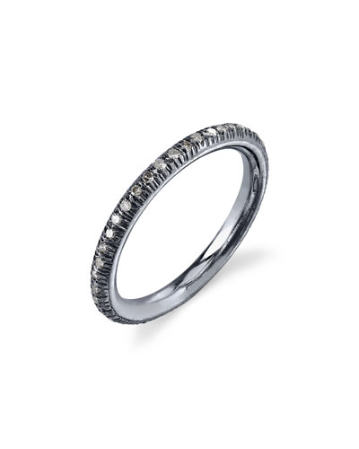 Pave Diamond Donut Stacking Band Ring, Size 8