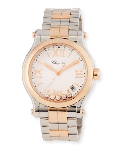 Happy Sport 18k Rose Gold & Stainless Steel Watch w/ Diamonds