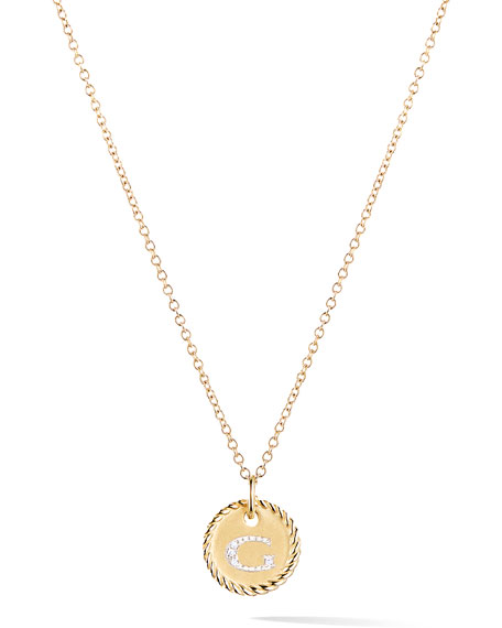 David Yurman Initial G Cable Collectible Necklace with Diamonds