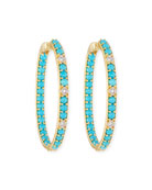 18k Lisse Turquoise & Diamond Hoop Earrings