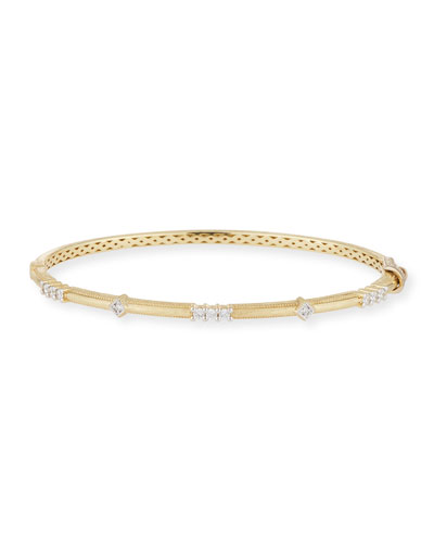 18k Lisse Alternating Diamond Bangle